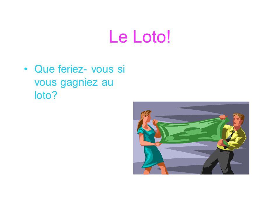 Le Loto! Que feriez- vous si vous gagniez au loto