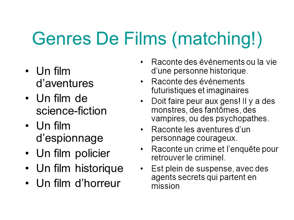 Genres De Films (matching!)