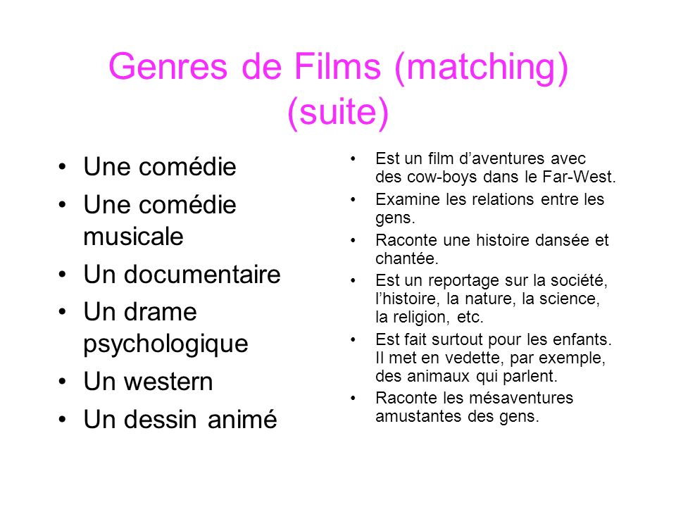 Genres de Films (matching) (suite)