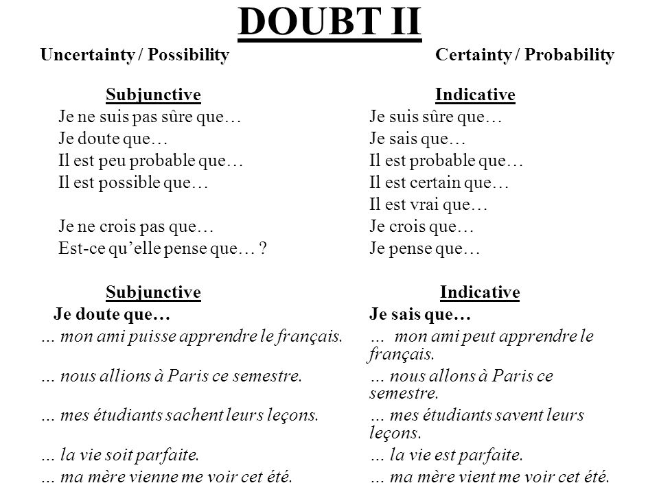 DOUBT II Uncertainty / Possibility Certainty / Probability