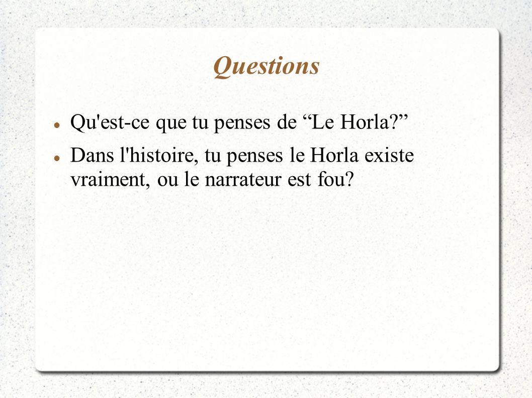 Questions Qu est-ce que tu penses de Le Horla