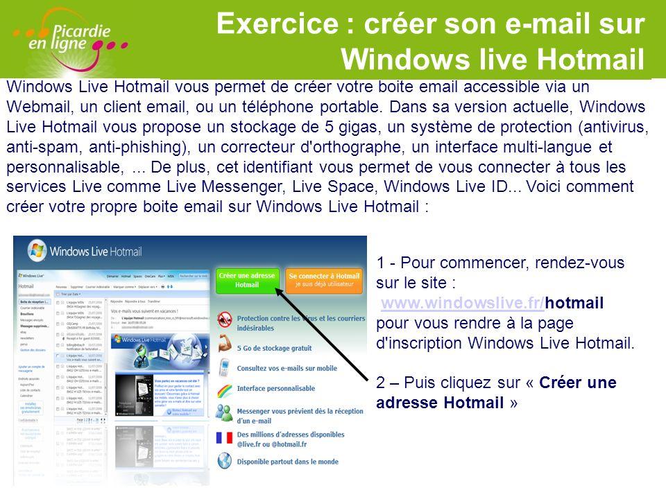 Exercice : créer son e-mail sur Windows live Hotmail