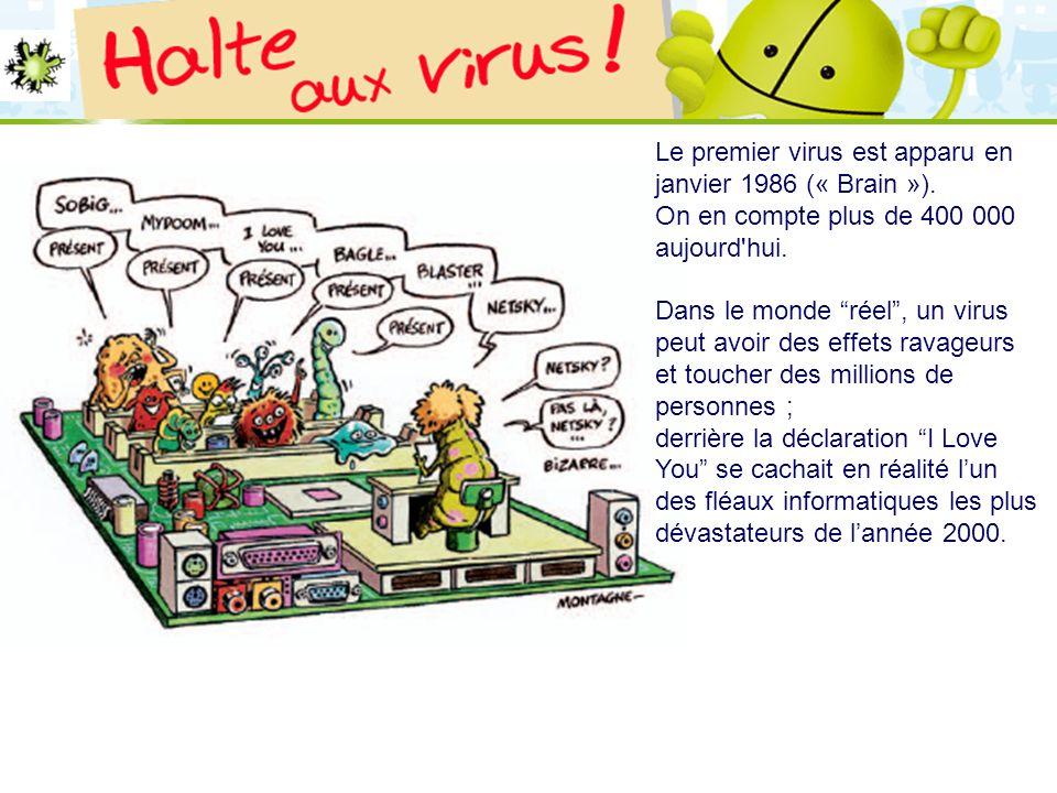 Le premier virus est apparu en janvier 1986 (« Brain »).