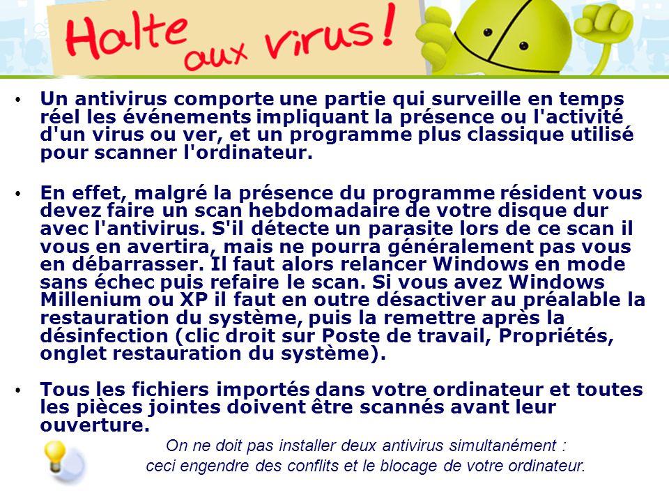 Un antivirus comporte une partie qui surveille en temps réel les événements impliquant la présence ou l activité d un virus ou ver, et un programme plus classique utilisé pour scanner l ordinateur.