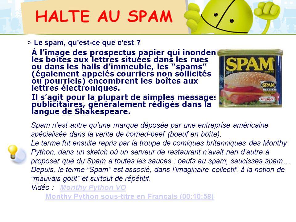 > Le spam, qu est-ce que c est
