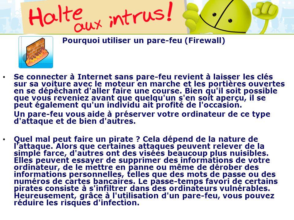 Pourquoi utiliser un pare-feu (Firewall)