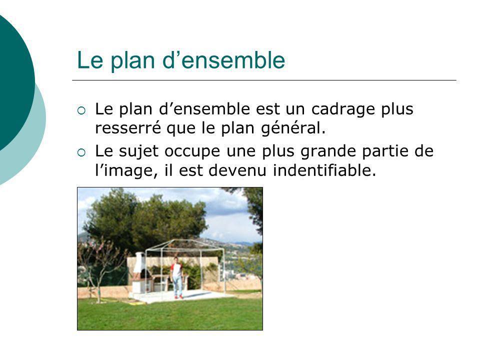 Le plan d'ensemble Le plan d'ensemble est un cadrage plus resserré que le plan général.