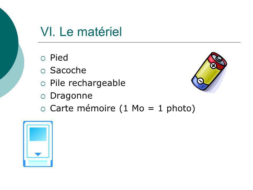 VI. Le matériel Pied Sacoche Pile rechargeable Dragonne