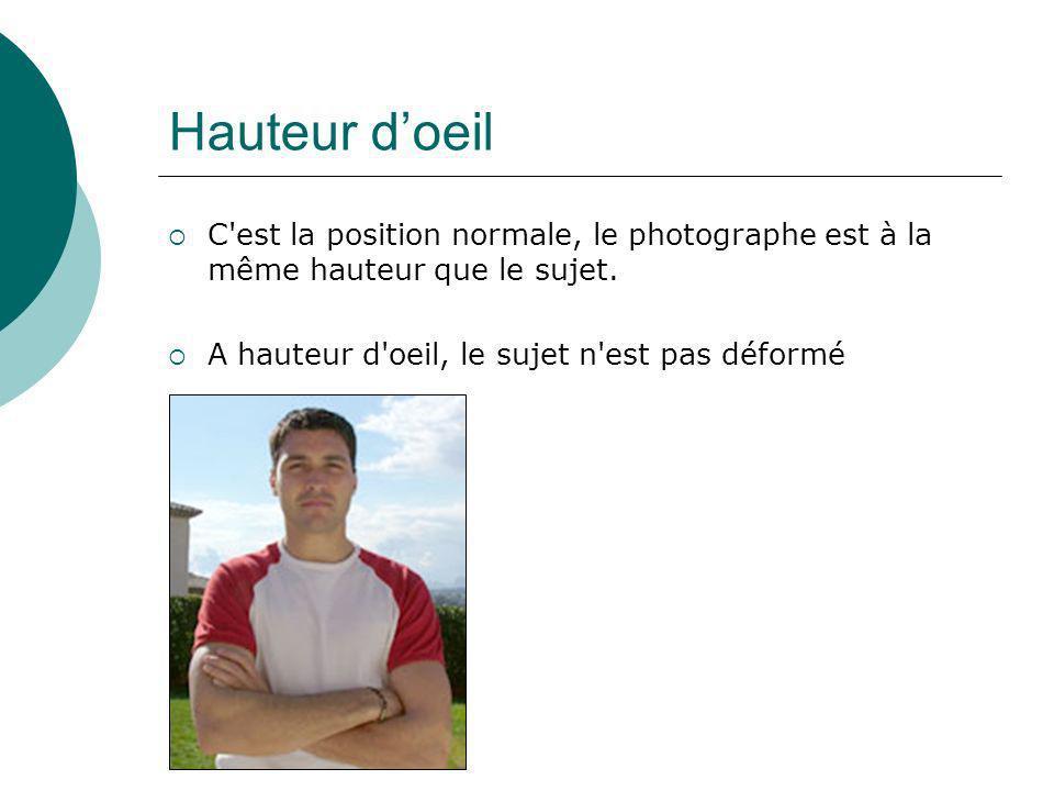 Hauteur d'oeil C est la position normale, le photographe est à la même hauteur que le sujet.
