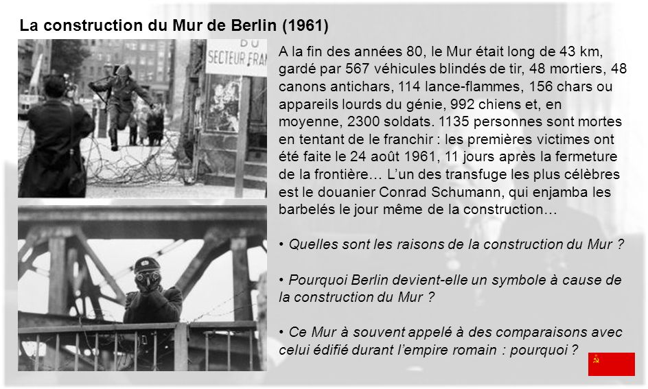 La construction du Mur de Berlin (1961)