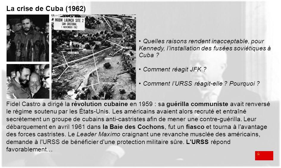 La crise de Cuba (1962) Quelles raisons rendent inacceptable, pour Kennedy, l'installation des fusées soviétiques à Cuba