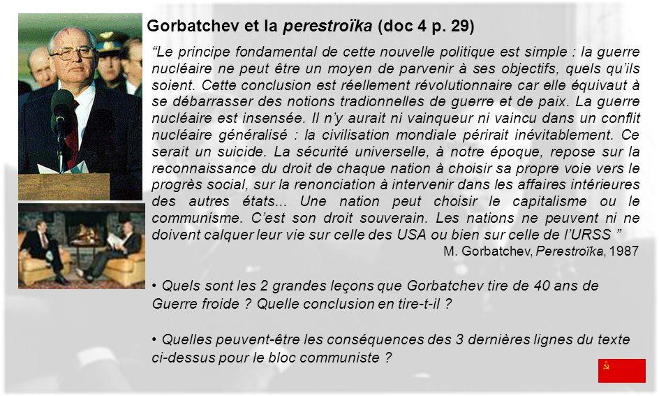 Gorbatchev et la perestroïka (doc 4 p. 29)