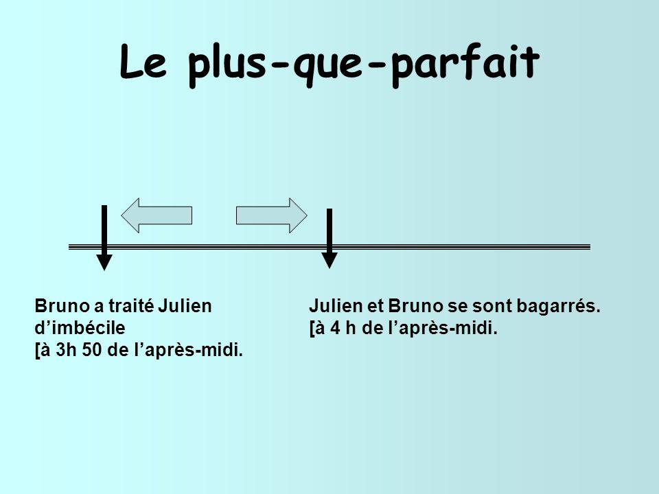Le plus-que-parfait Bruno a traité Julien d'imbécile