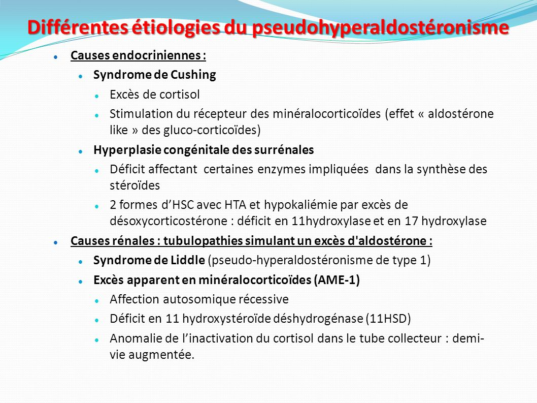 Différentes étiologies du pseudohyperaldostéronisme