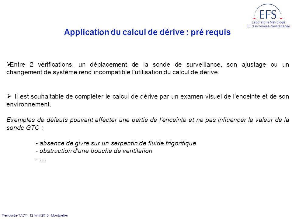 Application du calcul de dérive : pré requis