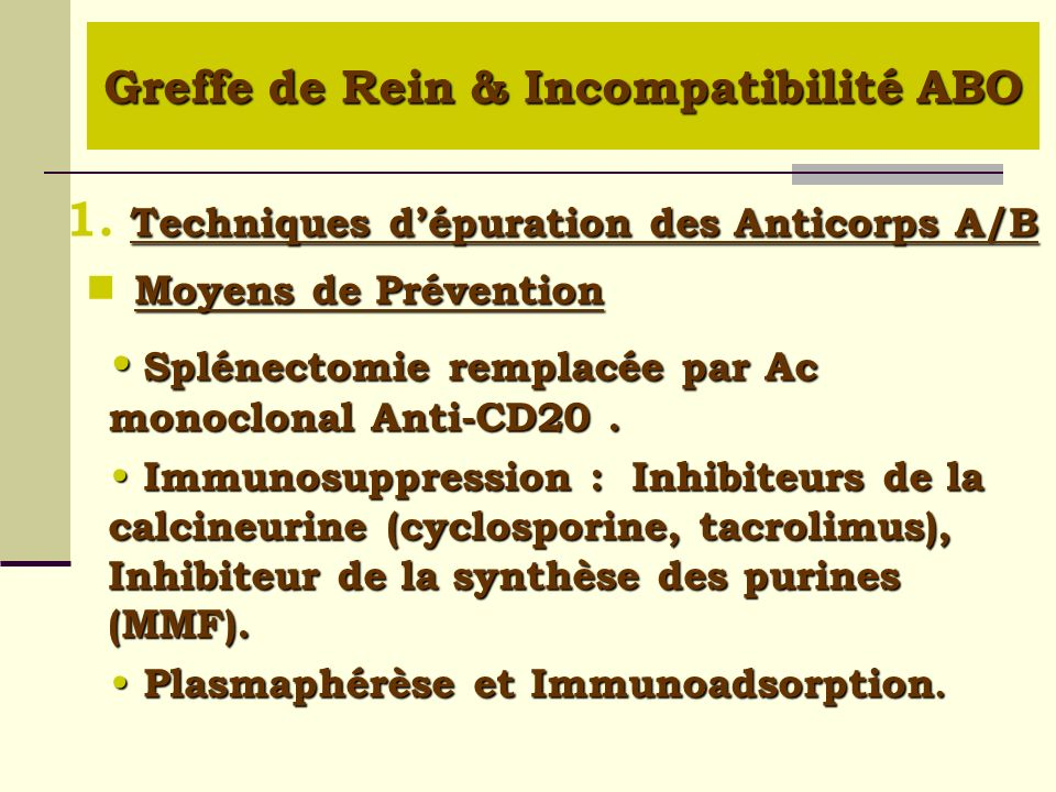 Greffe de Rein & Incompatibilité ABO