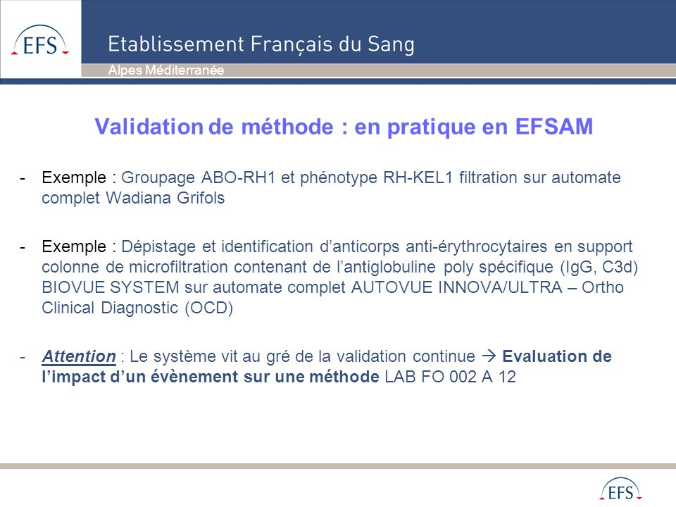 Validation de méthode : en pratique en EFSAM