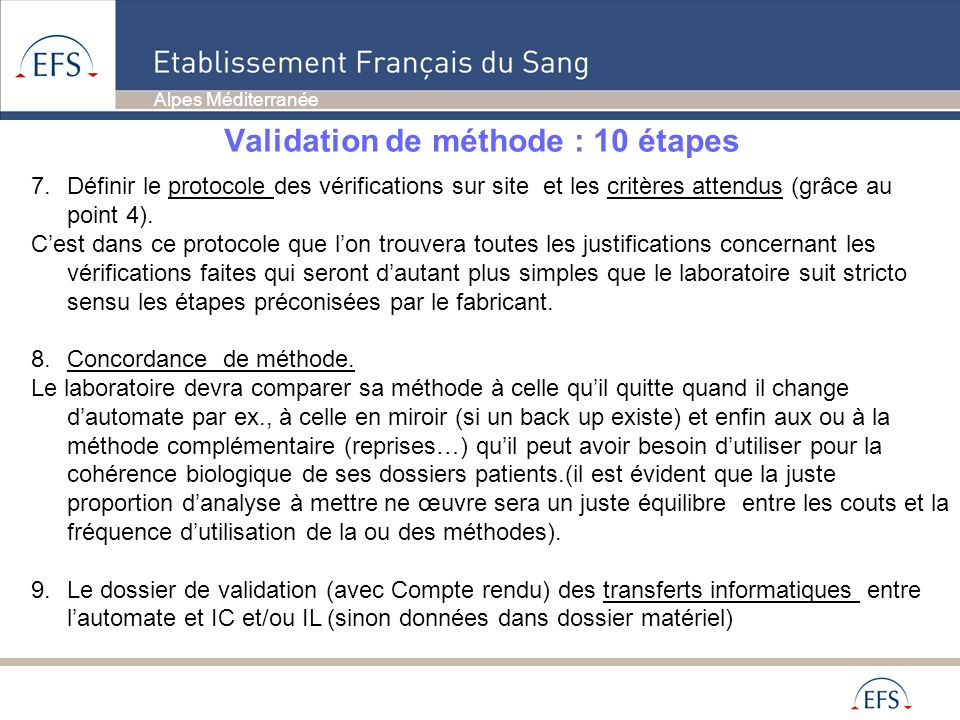 Validation de méthode : 10 étapes