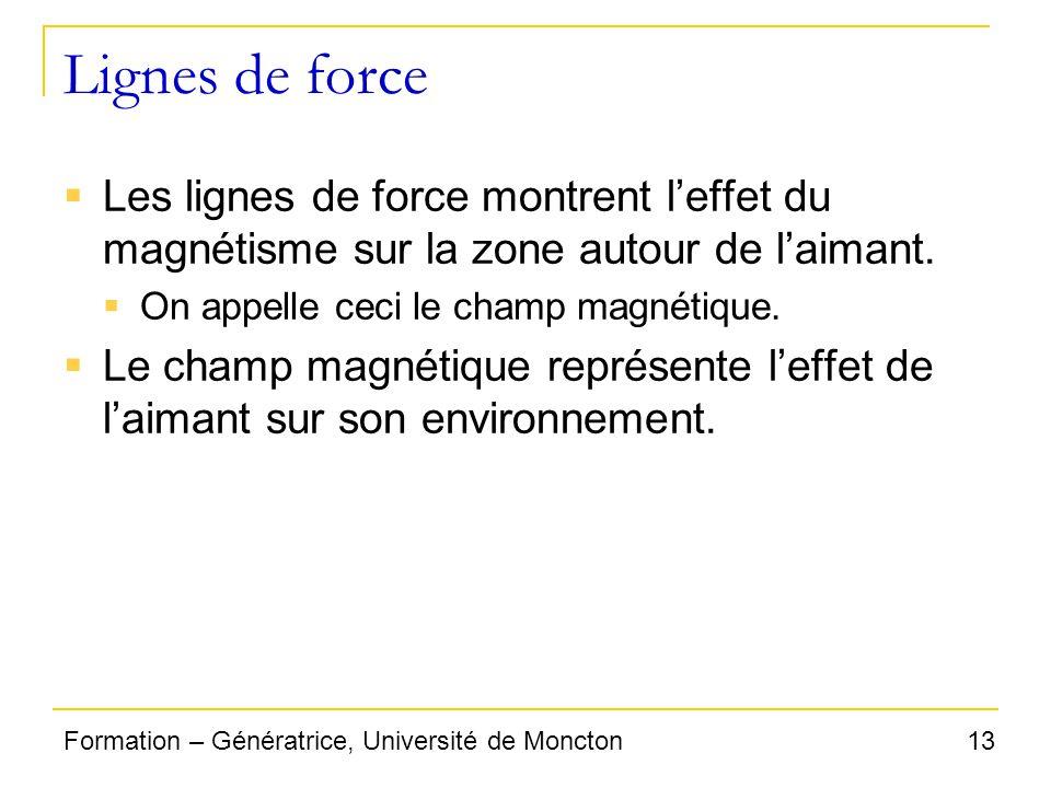 Lignes de force Les lignes de force montrent l'effet du magnétisme sur la zone autour de l'aimant. On appelle ceci le champ magnétique.