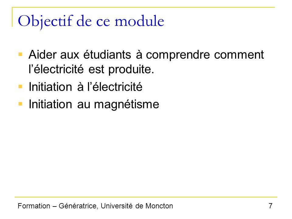 Objectif de ce module Aider aux étudiants à comprendre comment l'électricité est produite. Initiation à l'électricité.