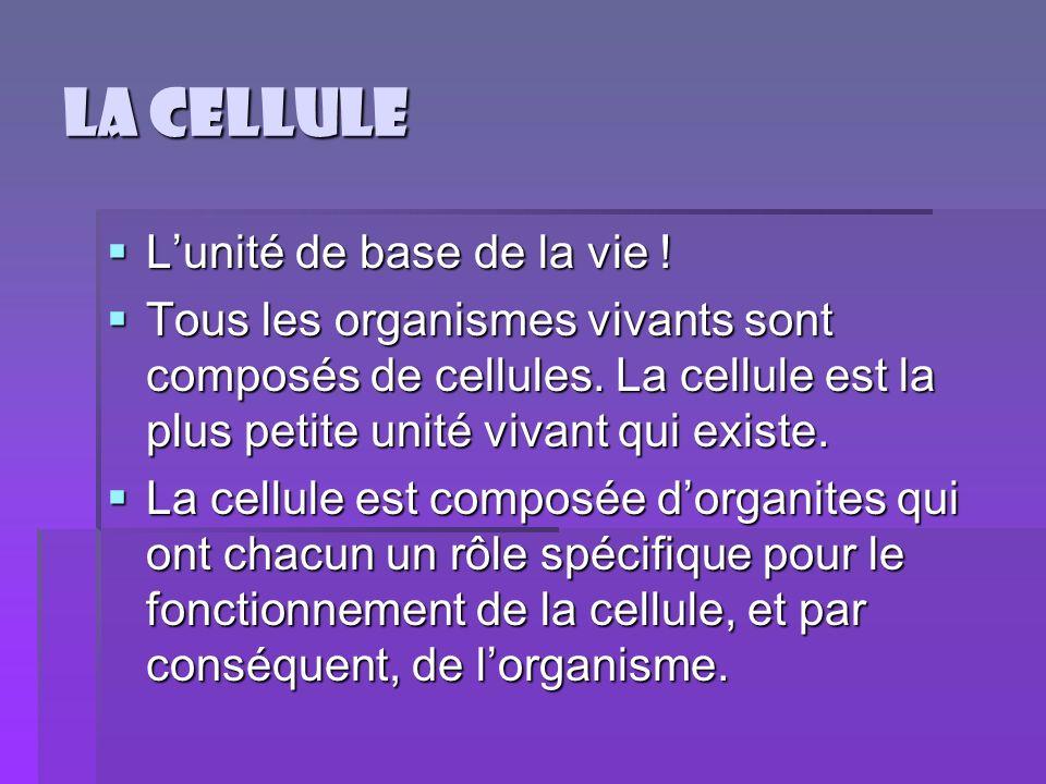 La cellule L'unité de base de la vie !
