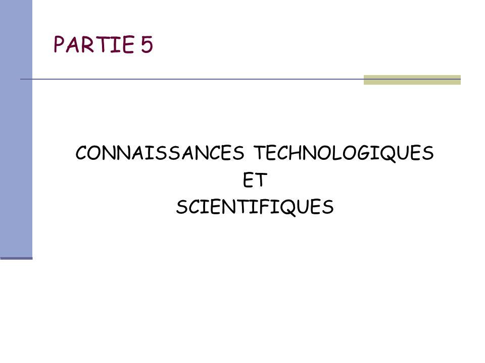 CONNAISSANCES TECHNOLOGIQUES
