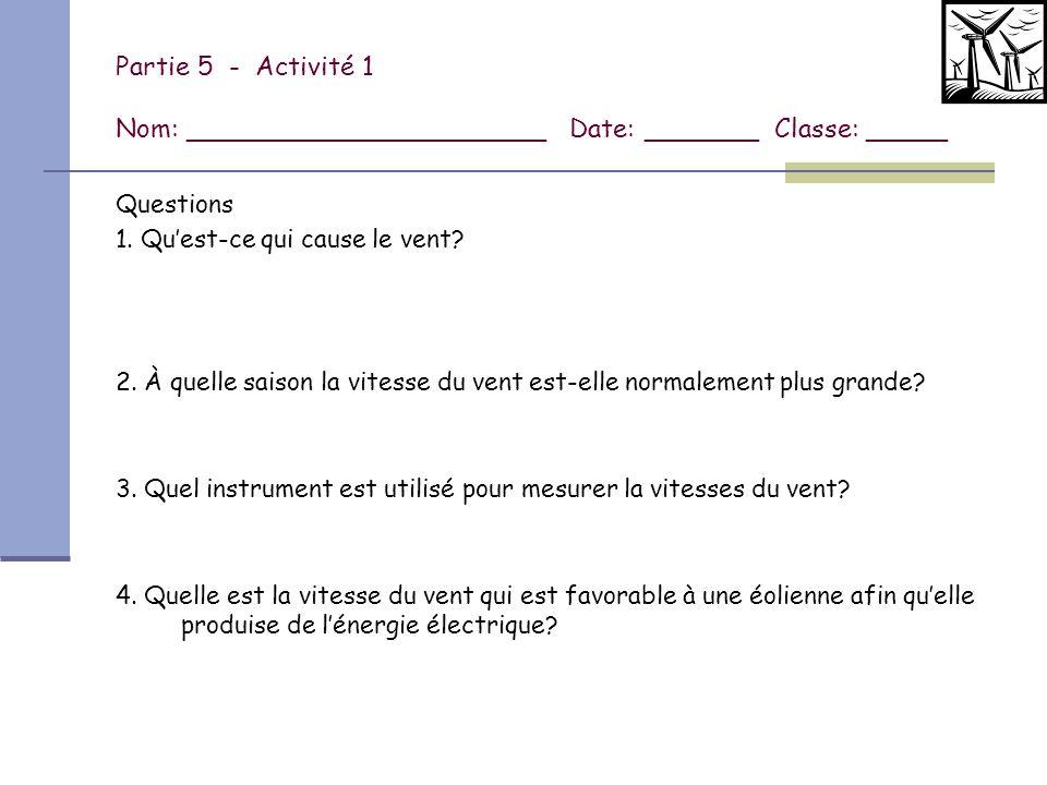 Partie 5 - Activité 1 Nom: ______________________ Date: _______ Classe: _____
