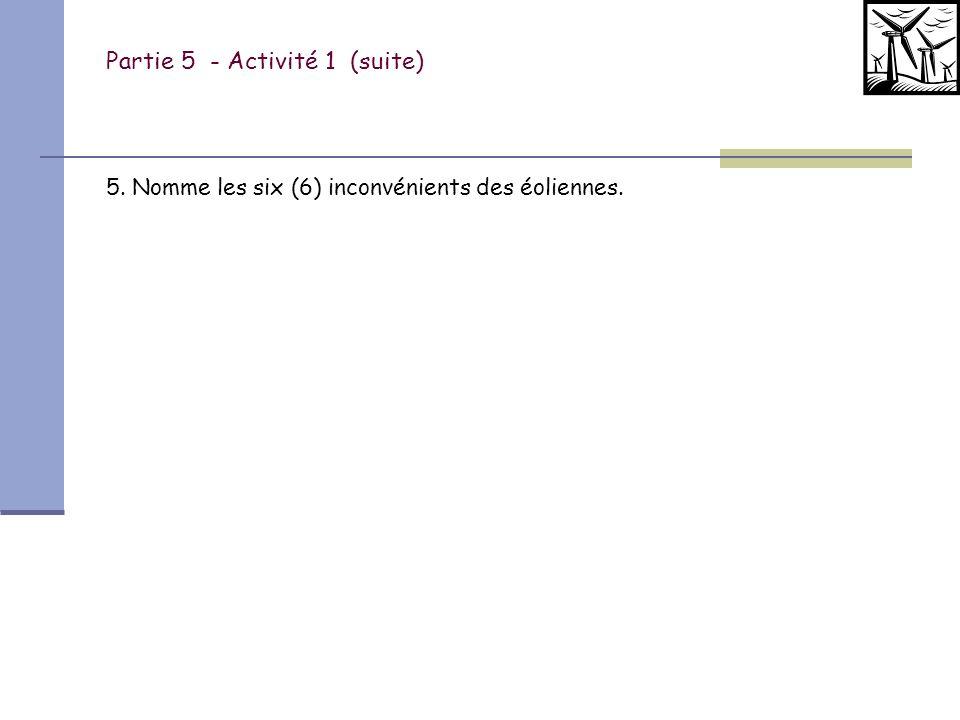 Partie 5 - Activité 1 (suite)