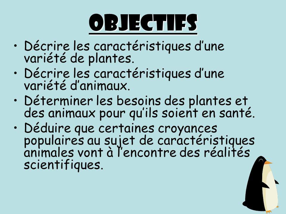 Objectifs Décrire les caractéristiques d'une variété de plantes.
