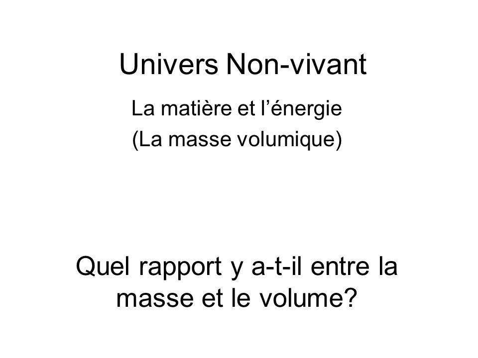 Univers Non-vivant Quel rapport y a-t-il entre la masse et le volume