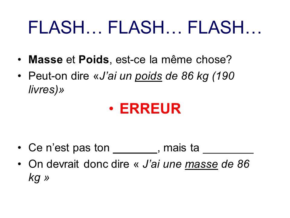 FLASH… FLASH… FLASH… ERREUR Masse et Poids, est-ce la même chose