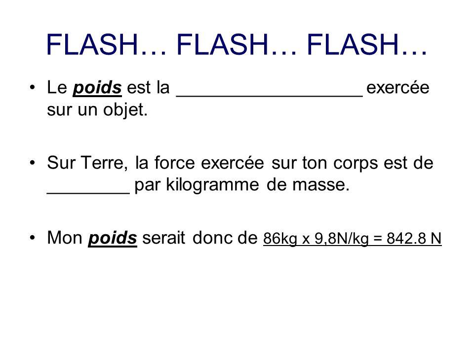 FLASH… FLASH… FLASH… Le poids est la __________________ exercée sur un objet.