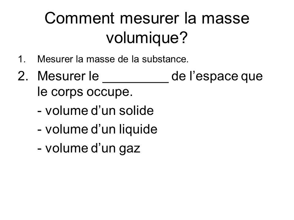 Comment mesurer la masse volumique