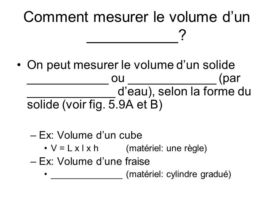 Comment mesurer le volume d'un ___________