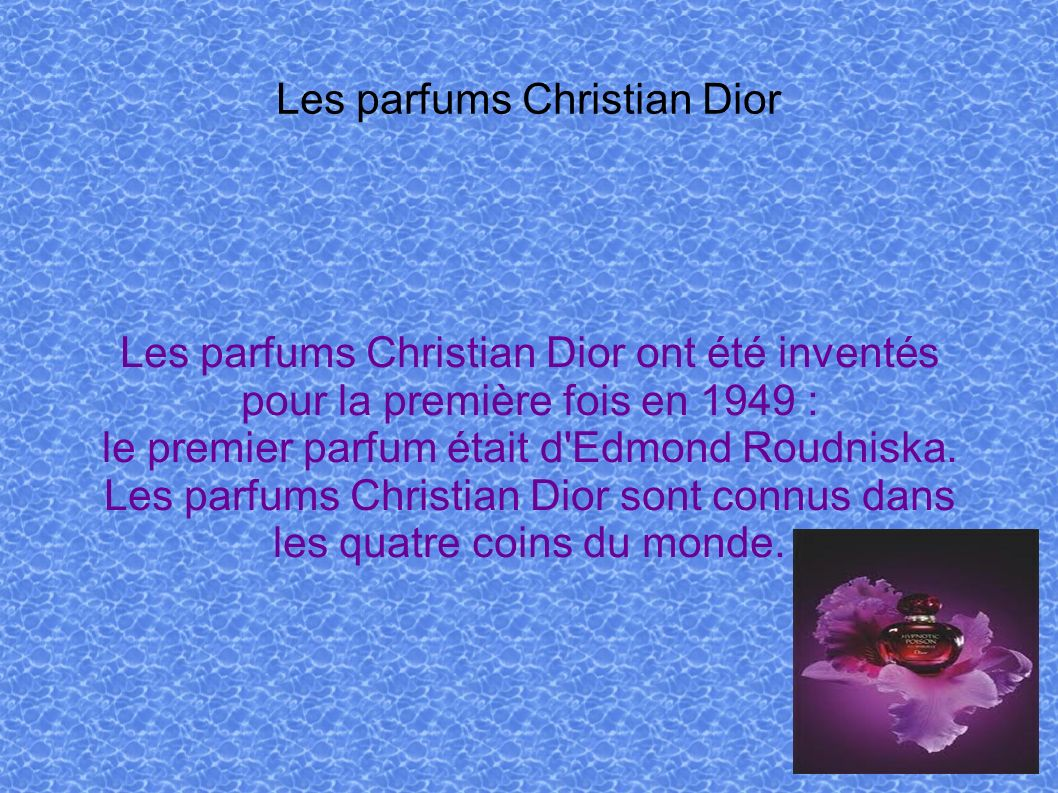 Les parfums Christian Dior
