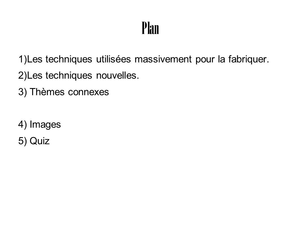 Plan 1)Les techniques utilisées massivement pour la fabriquer.