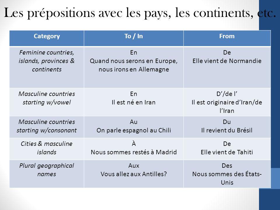 Les prépositions avec les pays, les continents, etc.