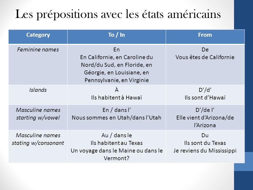 Les prépositions avec les états américains