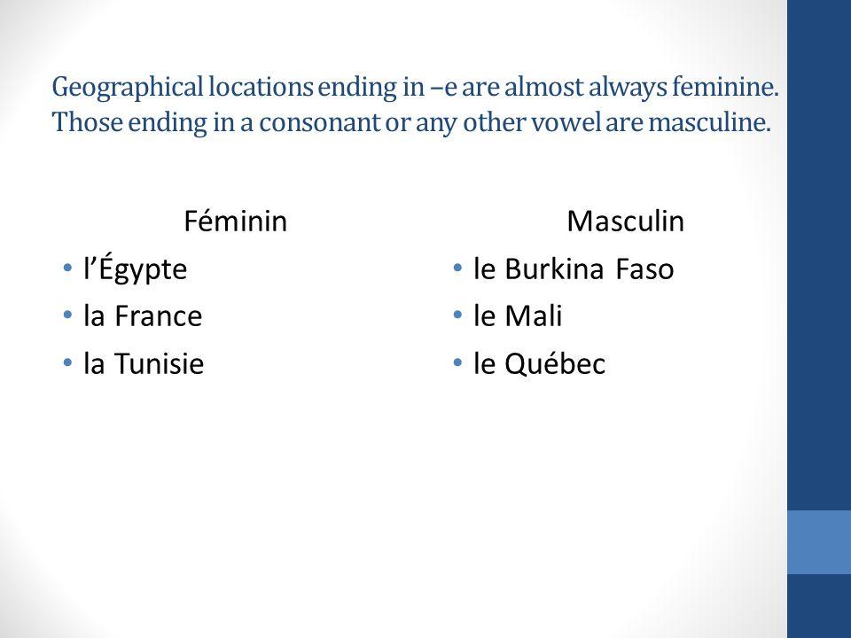 Féminin l'Égypte la France la Tunisie Masculin le Burkina Faso le Mali