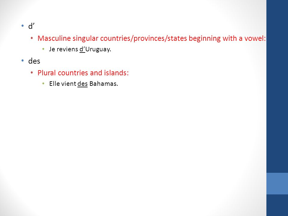 d' Masculine singular countries/provinces/states beginning with a vowel: Je reviens d'Uruguay. des.