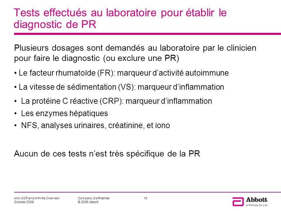 Tests effectués au laboratoire pour établir le diagnostic de PR