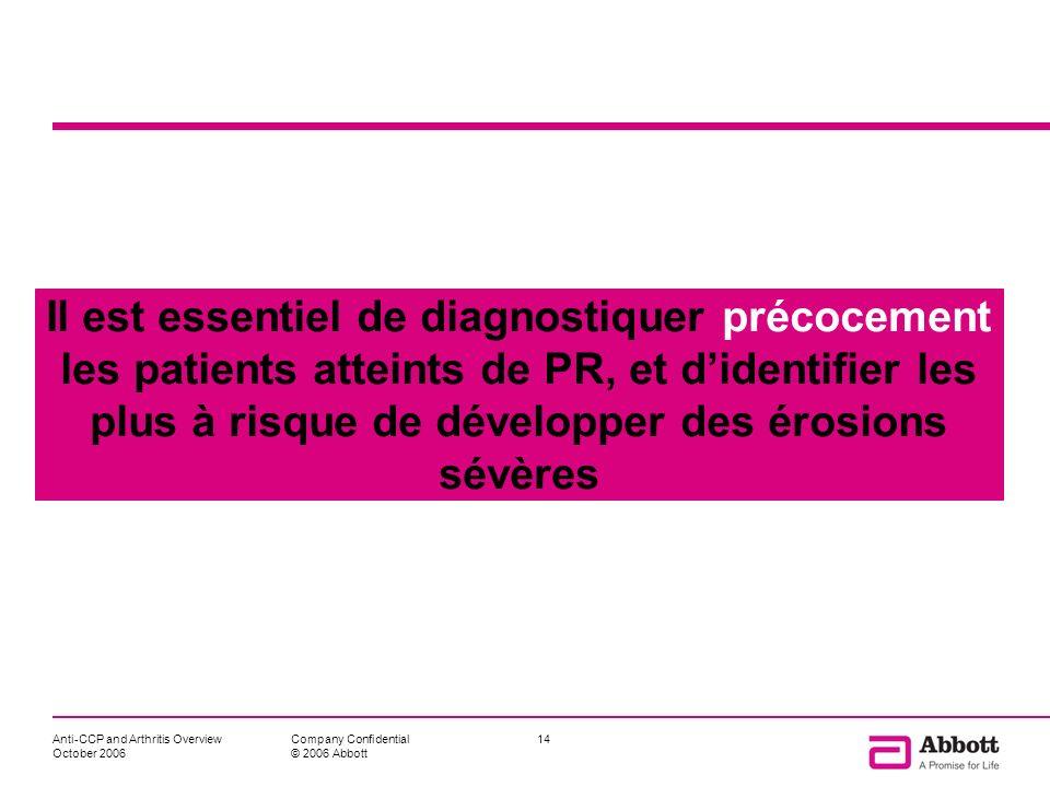 Il est essentiel de diagnostiquer précocement les patients atteints de PR, et d'identifier les plus à risque de développer des érosions sévères