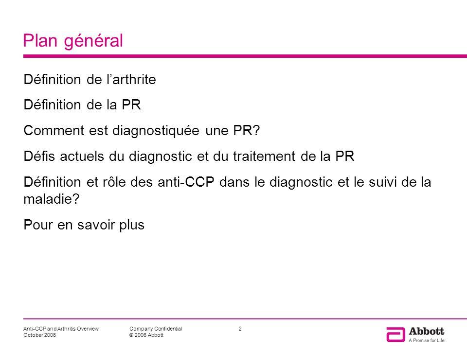 Plan général Définition de l'arthrite Définition de la PR