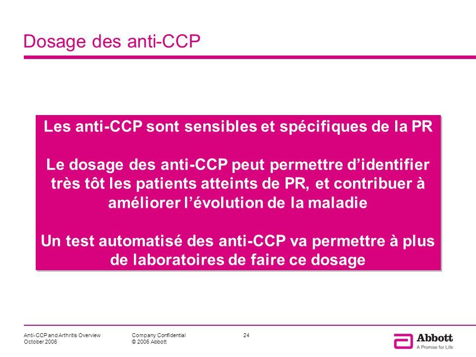 Les anti-CCP sont sensibles et spécifiques de la PR