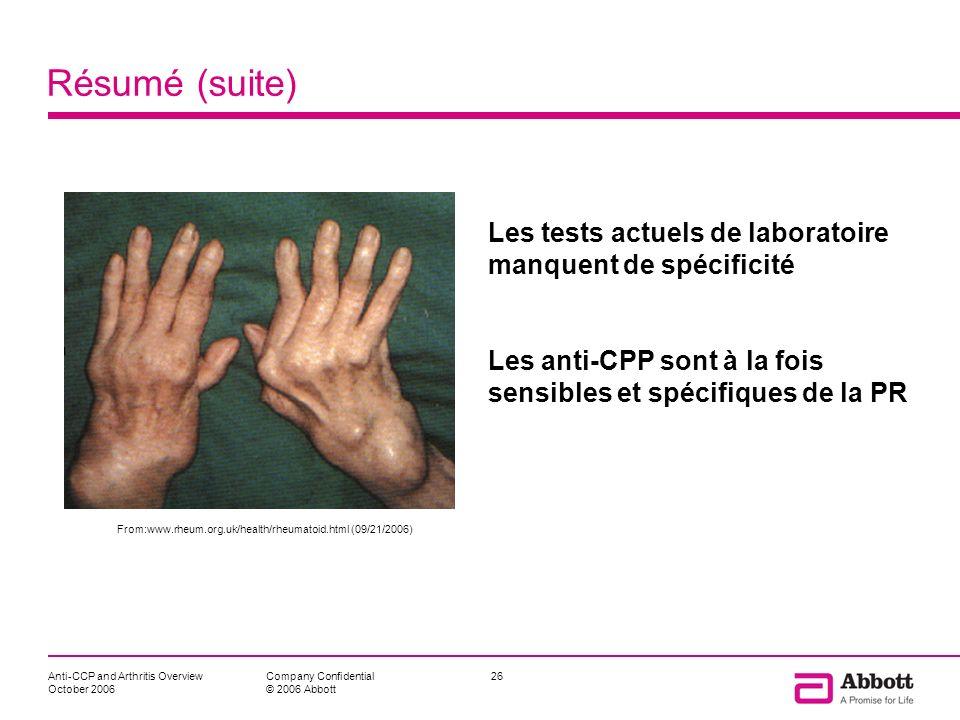 Résumé (suite)Les tests actuels de laboratoire manquent de spécificité. Les anti-CPP sont à la fois sensibles et spécifiques de la PR.