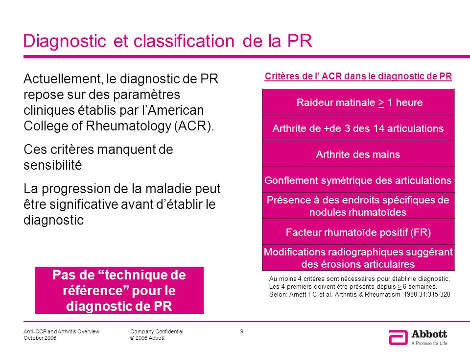 Diagnostic et classification de la PR