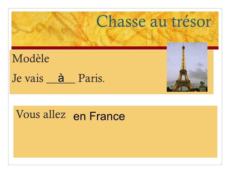 Chasse au trésor Modèle Je vais _____ Paris. à Vous allez en France