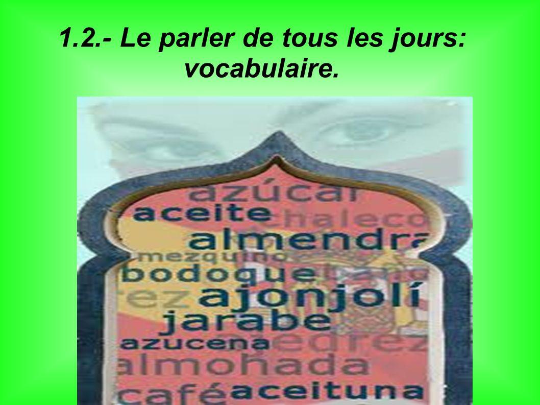 1.2.- Le parler de tous les jours: vocabulaire.