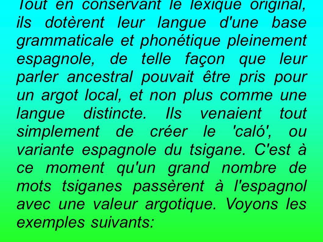 Tout en conservant le lexique original, ils dotèrent leur langue d une base grammaticale et phonétique pleinement espagnole, de telle façon que leur parler ancestral pouvait être pris pour un argot local, et non plus comme une langue distincte.