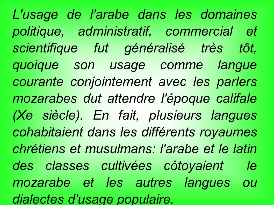 L usage de l arabe dans les domaines politique, administratif, commercial et scientifique fut généralisé très tôt, quoique son usage comme langue courante conjointement avec les parlers mozarabes dut attendre l époque califale (Xe siècle).